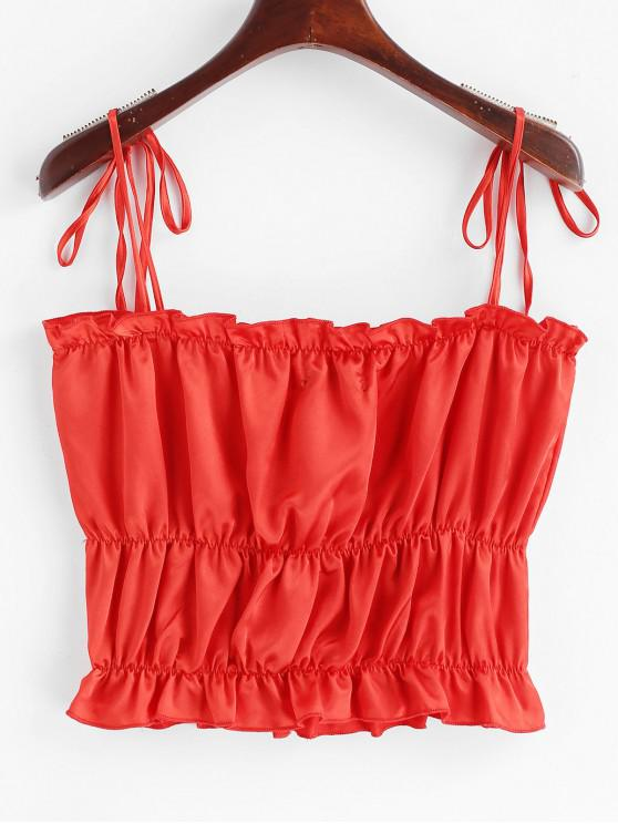 outfit ZAFUL Ruffles Satin Crop Cami Top - RED S