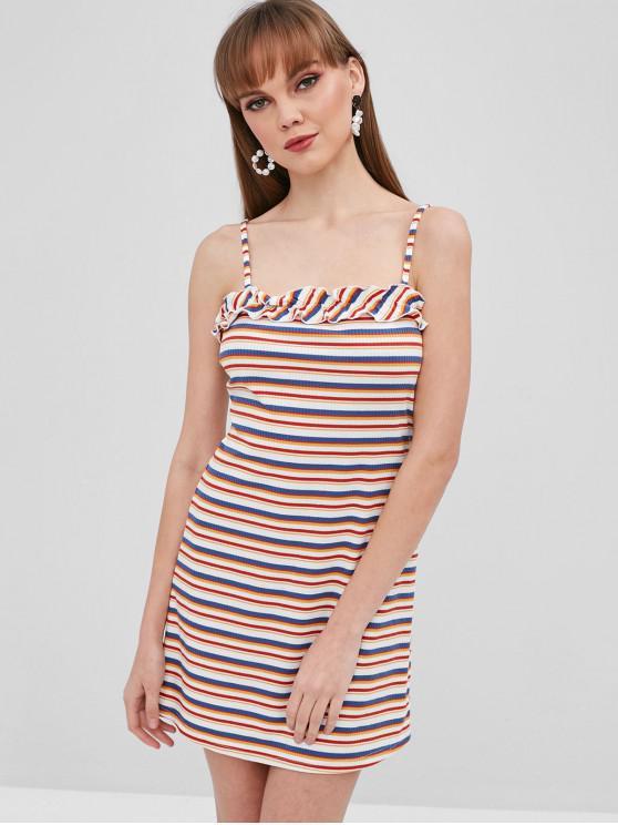 ZAFUL Stripes Ribbed Ruffles Cami Dress - Multi L
