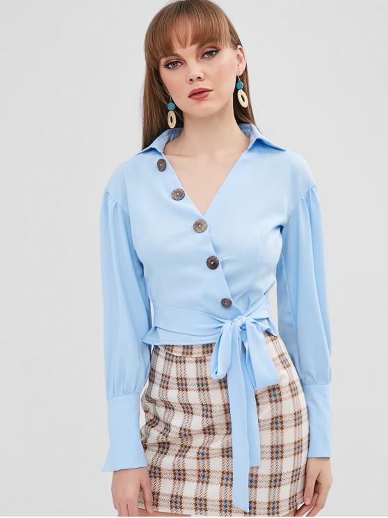 fashion Knotted Button Up Top - SEA BLUE L