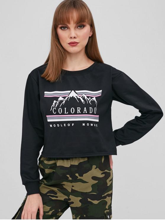 hot Letter Graphic Pullover Crop Sweatshirt - BLACK S