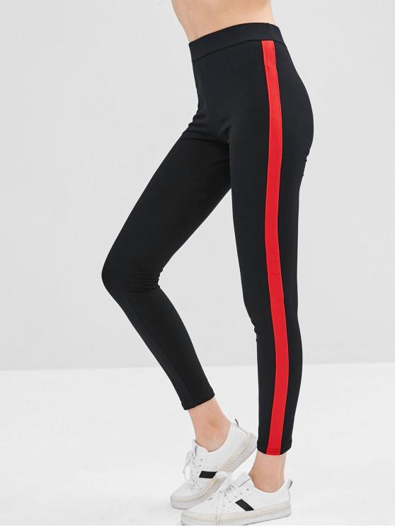 latest Two Tone Elastic Skinny Leggings - BLACK S