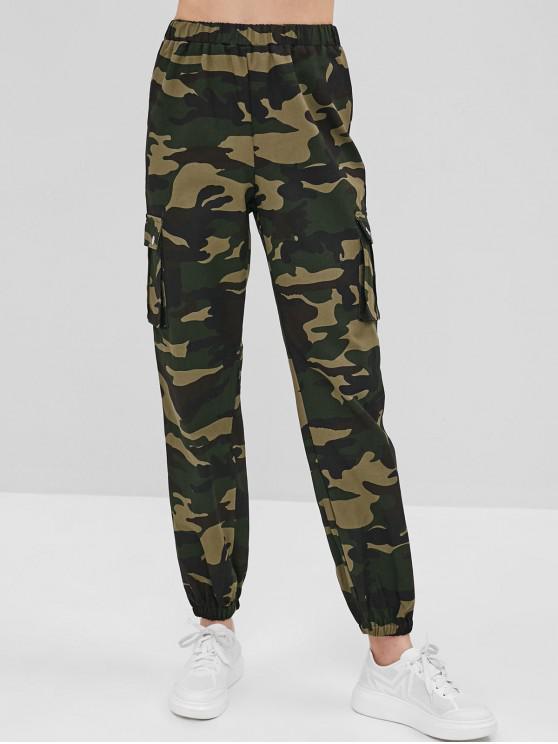 Pantalones de chándal de tiro alto de camuflaje - ACU Camuflaje L