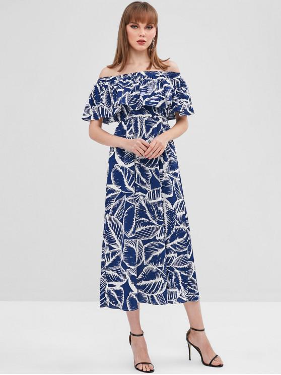 latest Leaves Print Slit Off Shoulder Dress - DARK SLATE BLUE XL