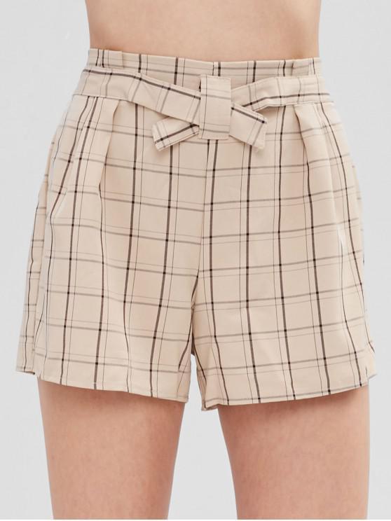 fashion Plaid Wide Leg Shorts - TAN S