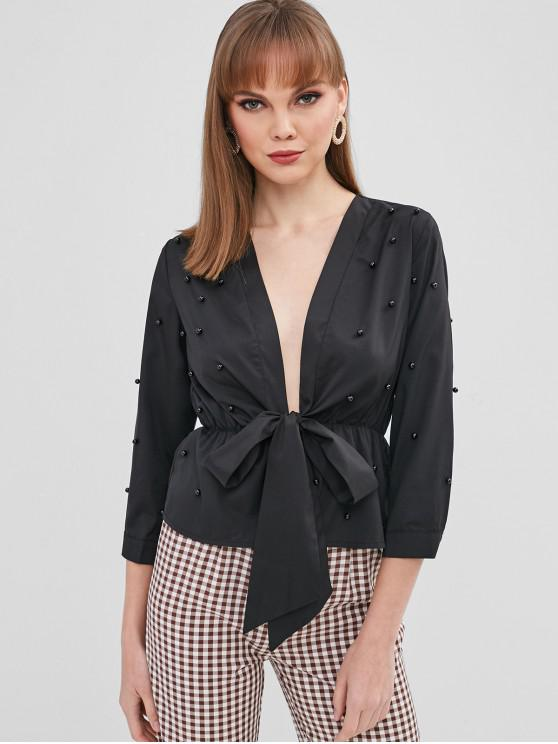 outfit Beaded Tie Front Blouse - BLACK L