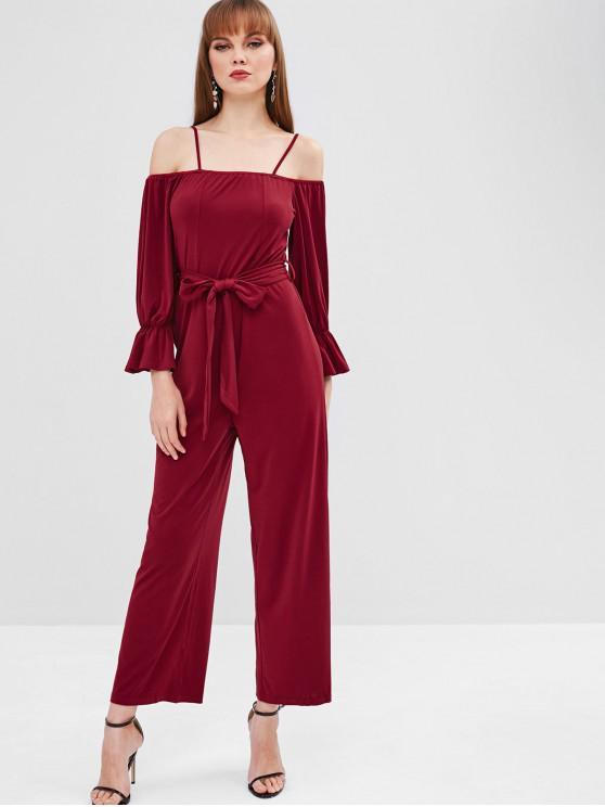 shop Belt Cold Shoulder Jumpsuit - RED WINE XL
