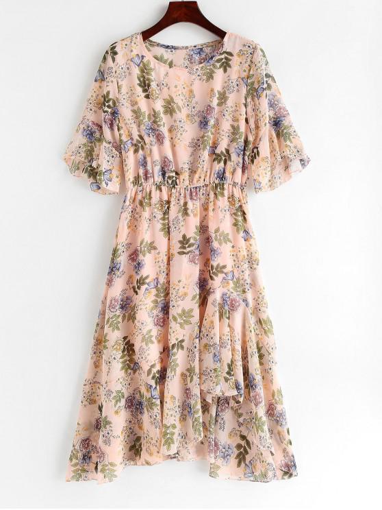 fancy Ruffles Floral Asymmetrical Dress - LIGHT PINK XL