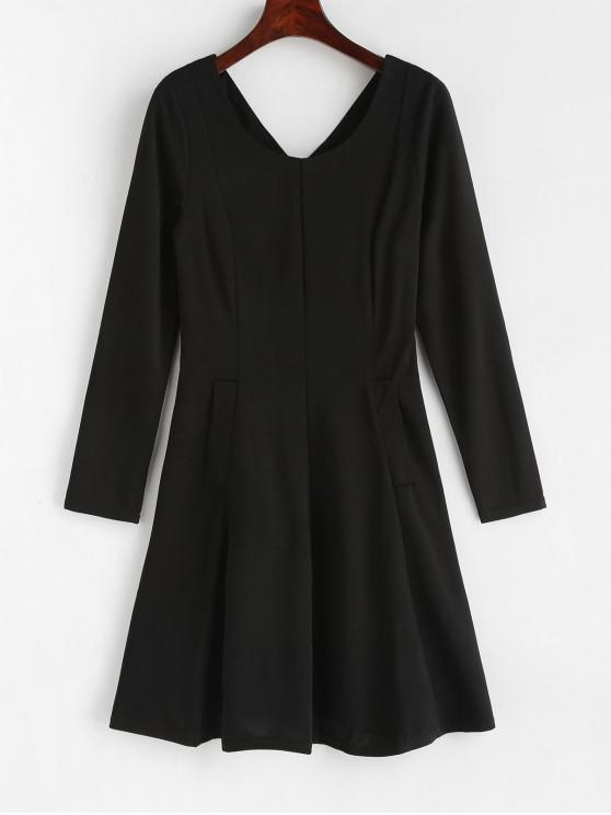 ladies Back Zipper Pockets A Line Dress - BLACK M