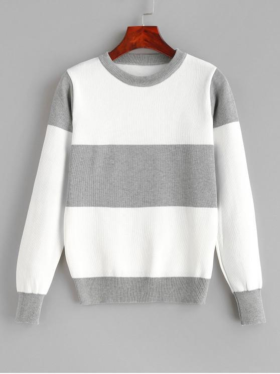 Pullover Color Block Camisola Com Gola - Nuvem Cinzento Um Tamanho