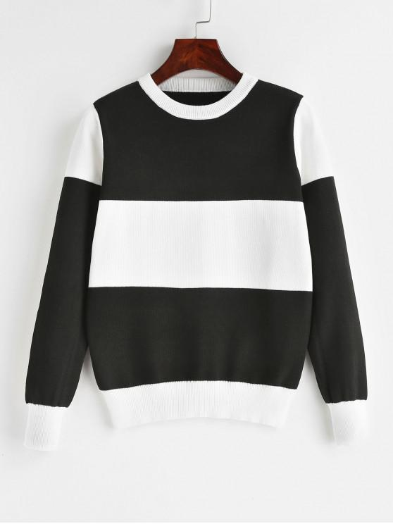 lady Pullover Color Block Crew Neck Sweater - BLACK ONE SIZE