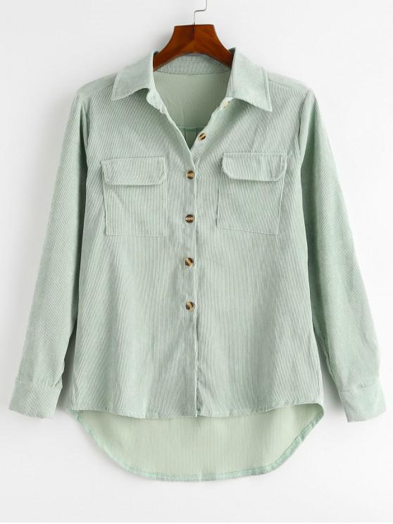 affordable Flap Pockets High Low Corduroy Shirt - GREEN S