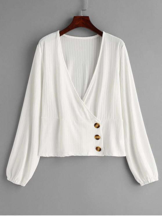 ladies Button Up V Neck Top - WHITE L