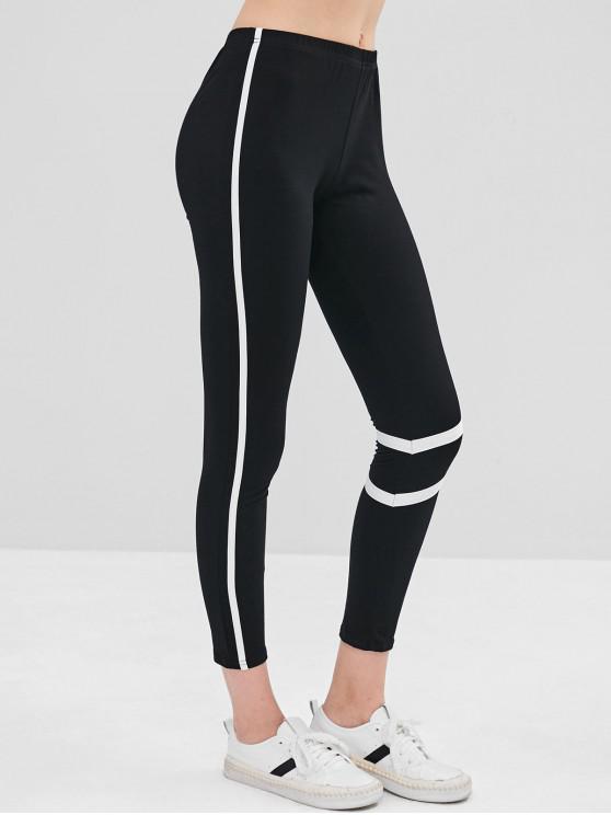 fancy Contrast Trim Skinny Mid Rise Leggings - BLACK L