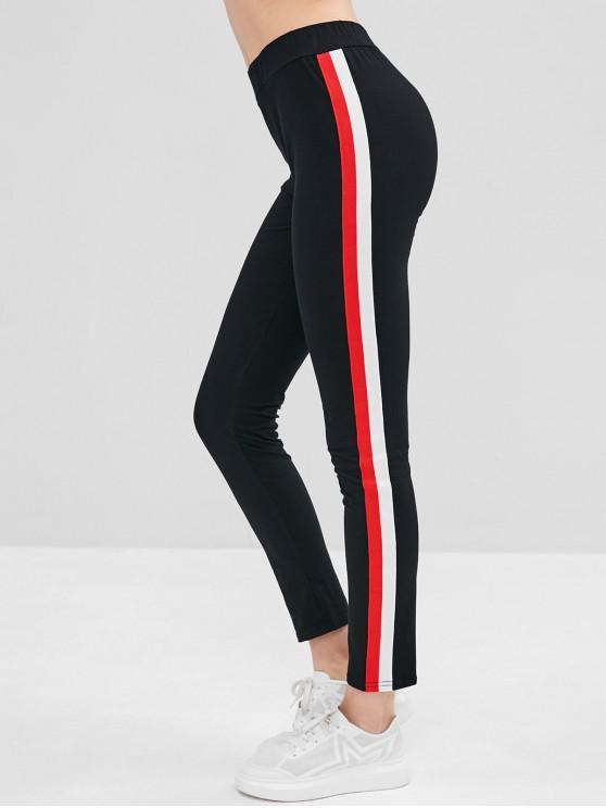 women Contrast Striped Side Leggings - BLACK L