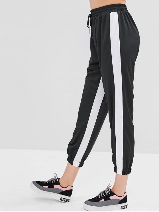 womens Two Tone Drawstring Jogging Pants - BLACK L