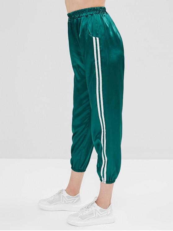 outfit Striped Pocket Satin Pants - DEEP GREEN S