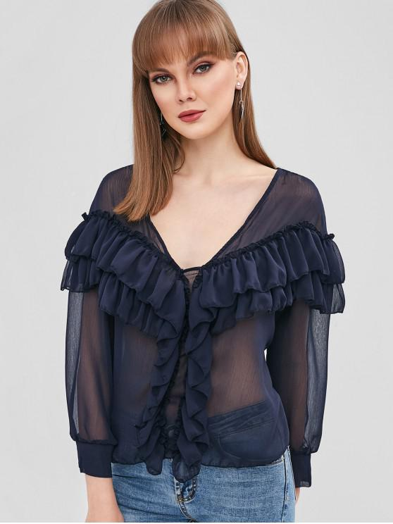 fashion Flounce Casual Blouse - DARK SLATE BLUE L