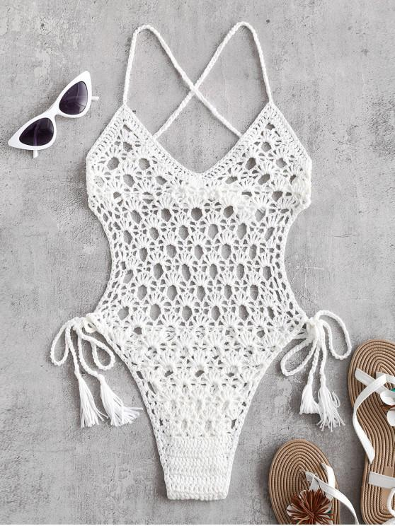 13 Off 2019 Tie Side Crochet Monokini In White Zaful