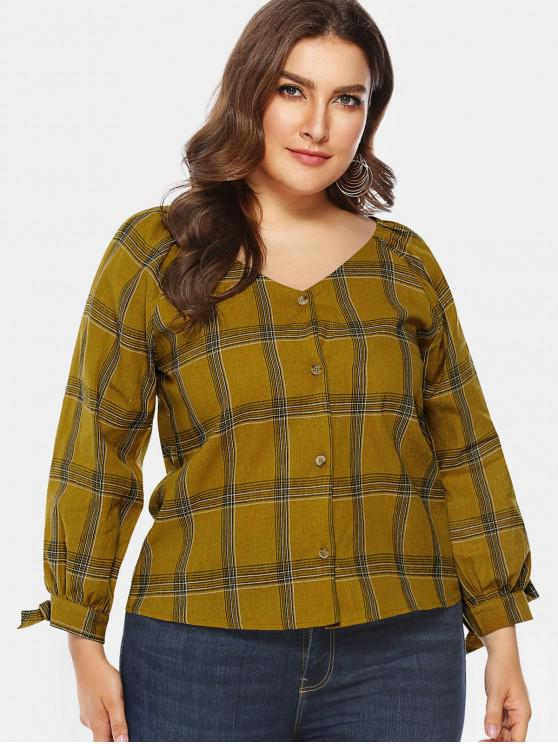 online Tied Sleeve Plus Size Plaid Blouse - WOOD 2X