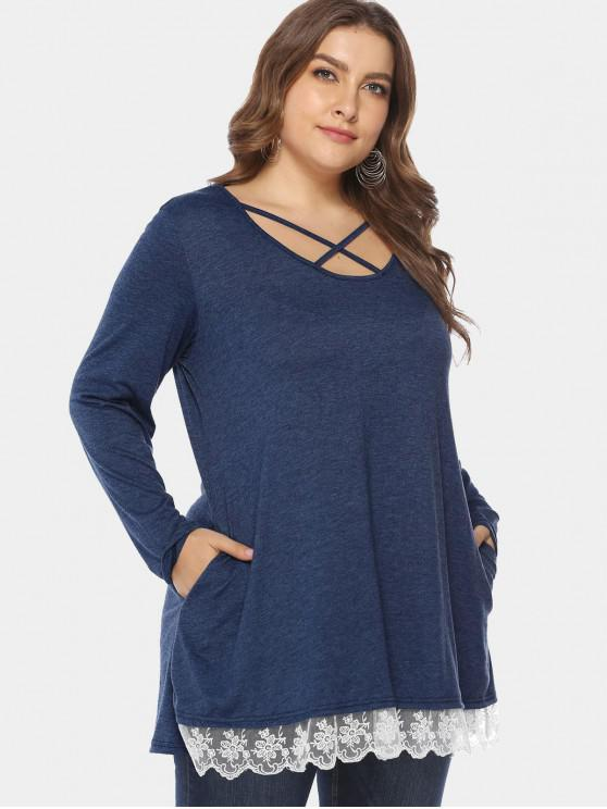 outfit Cross Plus Size Embroidered Hem Tunic Tee - LAPIS BLUE 4X