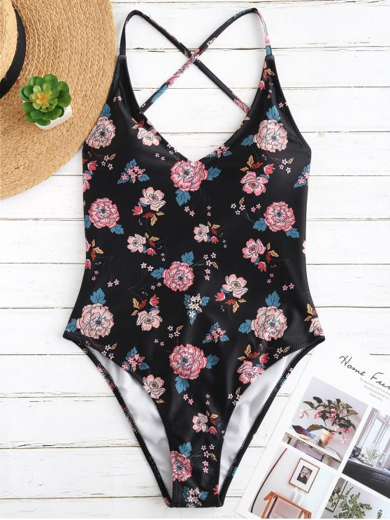 best ZAFUL Criss Cross Floral High Cut Swimsuit - MULTI S