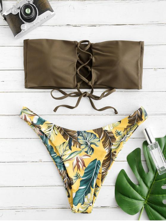 hot ZAFUL Tube Lace-up Printed Bikini Set - MULTI L