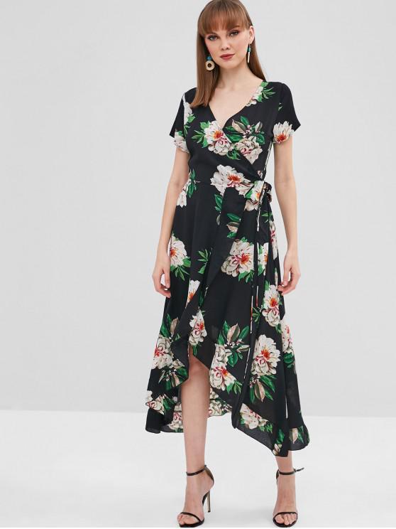 chic Ruffle Floral Wrap Dress - BLACK XL
