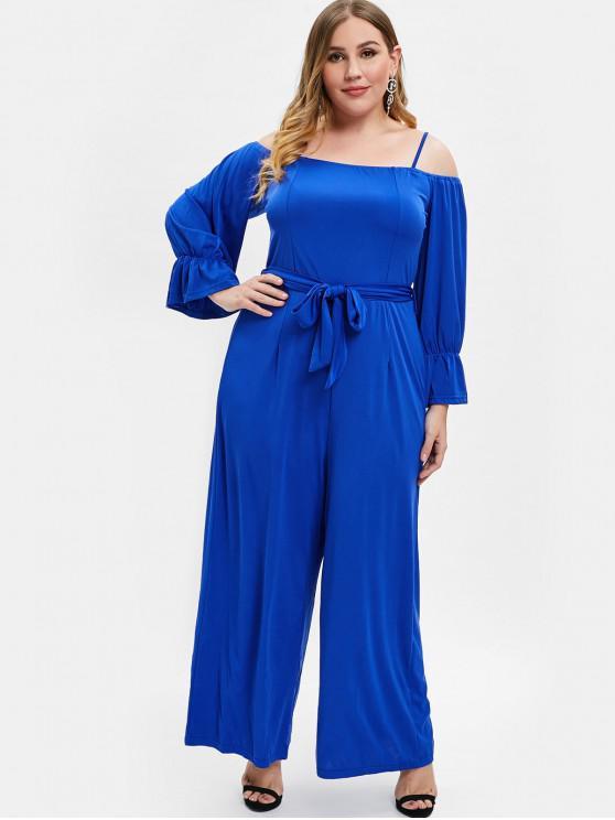 buy Belt Plus Size Cold Shoulder Jumpsuit - BLUE 2X