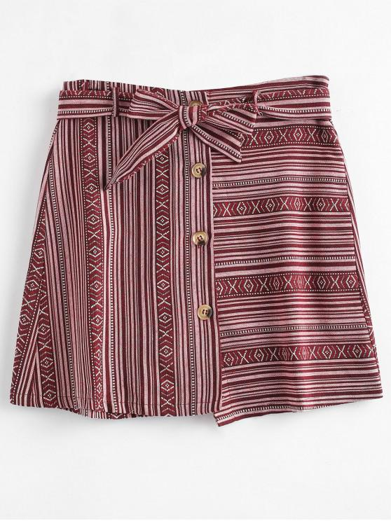 hot Belted Tribal Jacquard Button Up Mini Skirt - MULTI L