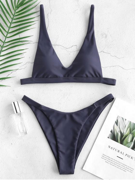chic ZAFUL Padded High Cut Bikini Set - SLATE BLUE L