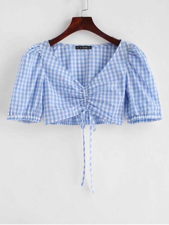 ZAFUL ceñida blusa de cultivo de guinga - Azul Claro S