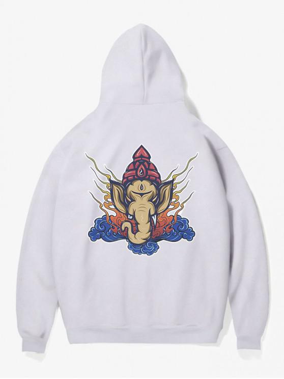 chic Elephant Head Print Fleece Hoodie - WHITE S