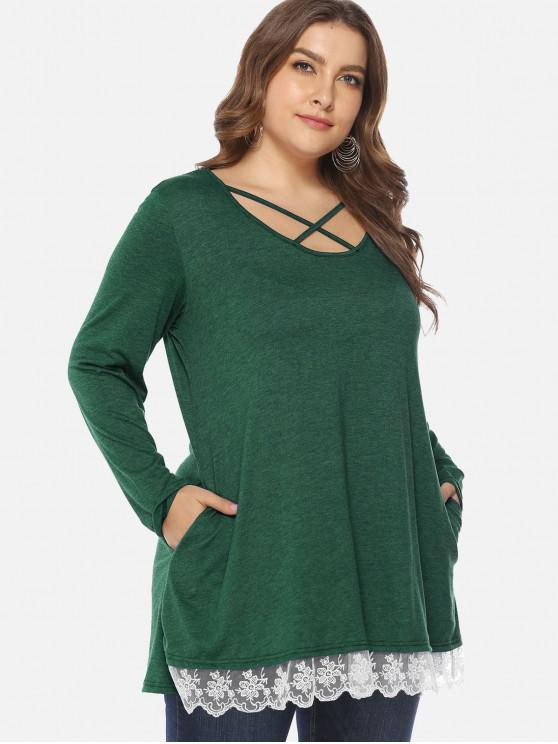 hot Cross Plus Size Embroidered Hem Tunic Tee - DARK GREEN 4X