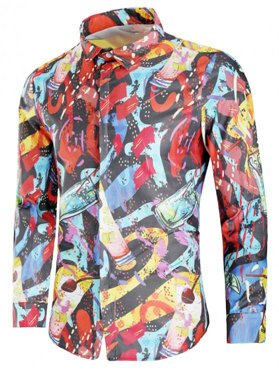 women Drink Painting Print Covered Button Shirt - MULTI 2XL