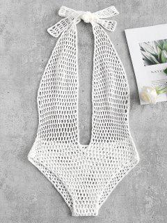 Halter Crochet One Piece Swimsuit - White S