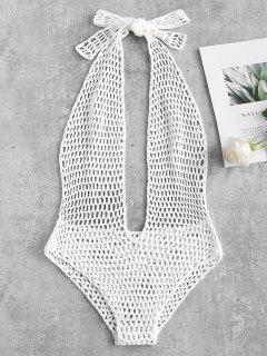 Halter Crochet One Piece Swimsuit - White M