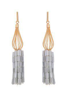 Stylish Tassel Design Glass Drop Earrings - Silver