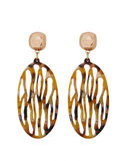 Oval Design Hollow Out Drop Earrings - Wood