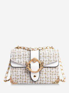 Woollen Square Shoulder Crossbody Bag - White