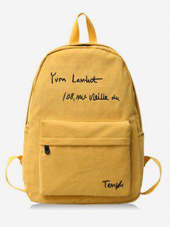 Letter Embroidery Cotton Backpack - Amarillo De Sol