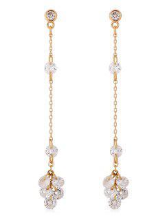 Stylish Rhinestone Decoration Chain Drop Earrings - Gold