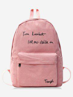 Letter Embroidery Cotton Backpack - Light Pink