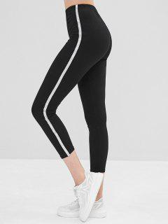 Elastic Skinny Glitter Trim Leggings - Black L