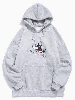 Dog Print Plush Kangaroo Pocket Hoodie - Gray Cloud M