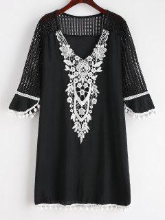 Pom Pom Crochet V Neck Cover Up - Black S