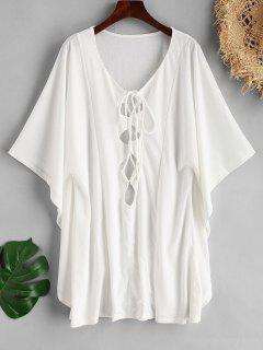 Lace Up Butterfly Sleeve Cover Up - White S