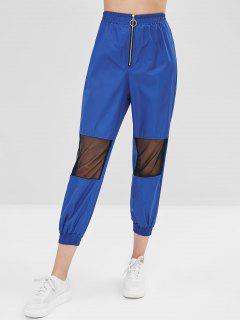 Pantalon De Jogging à Glissière Devant Avec Mailles - Bleu M