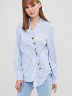 Striped Asymmetrical Button Shirt - Sky Blue L