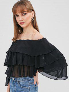 Off Shoulder Tierd Flare Sleeve Blouse - Black M