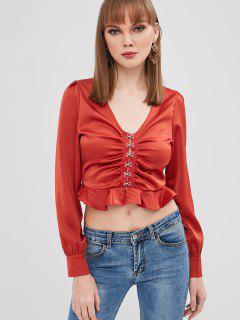 Blusa Con Cuello En V Volantes - Rojo Cereza L